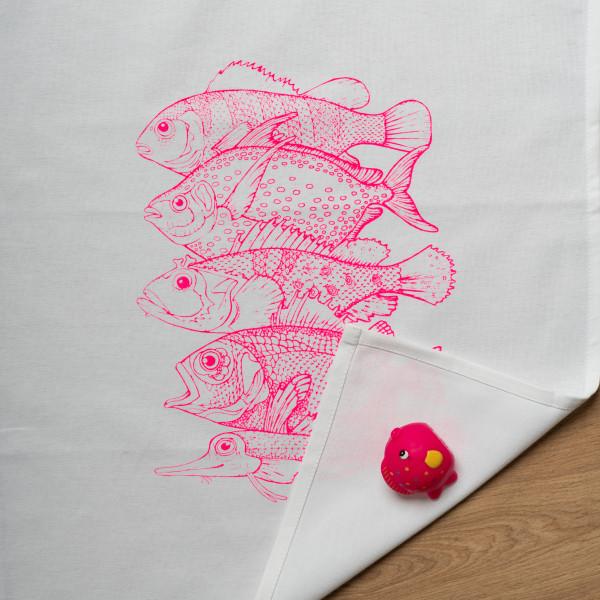 Geschirrtuch weiss, 5 FISCHE, neon pink