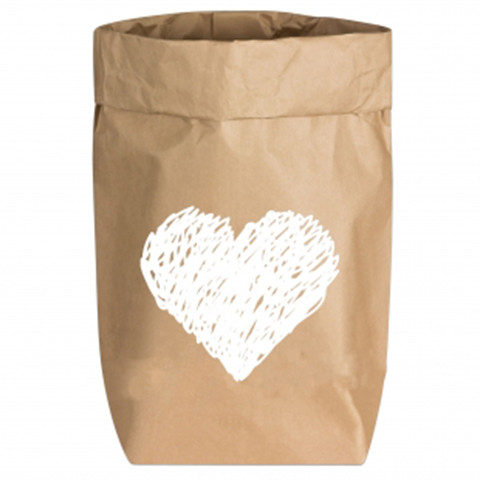 Paperbags Small natur, HERZ (gemalt), weiss