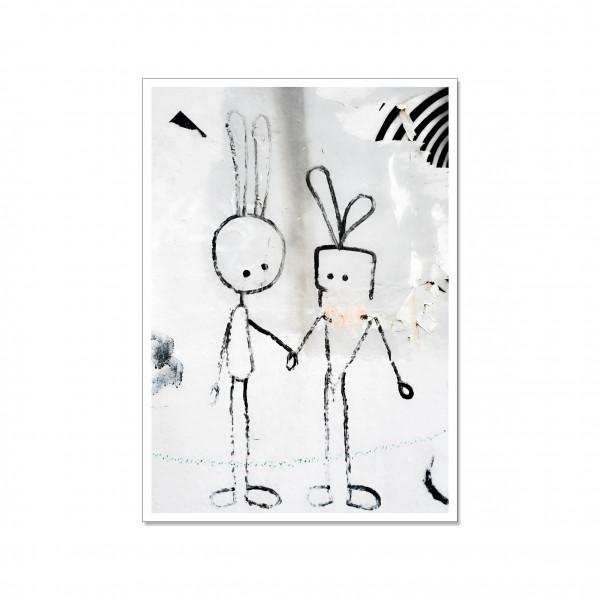 Postkarte hoch, Streetart, HASE & KAROTTE