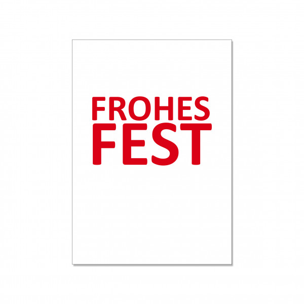 Postkarte hoch, FROHES FEST, rot