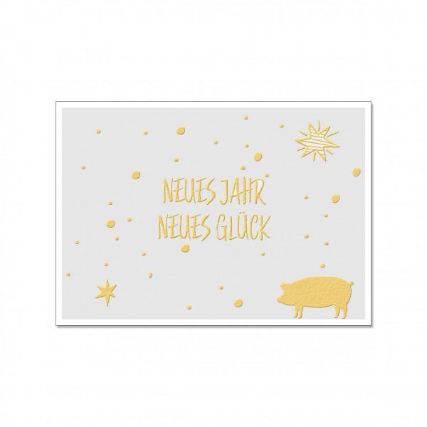 Postkarte quer, NEUES JAHR NEUES GLÜCK, Gold