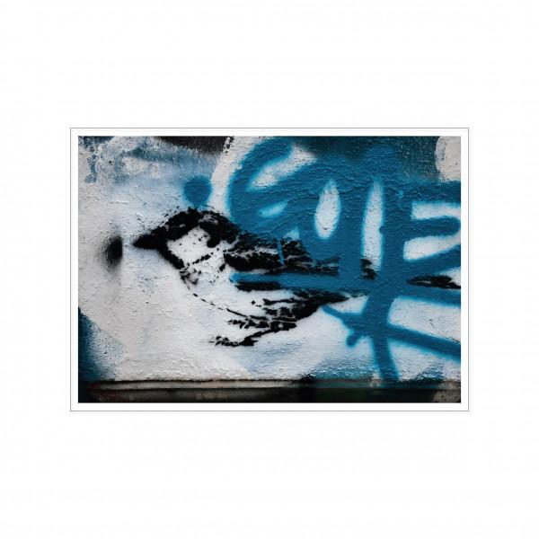 Postkarte quer, Streetart, SPATZ