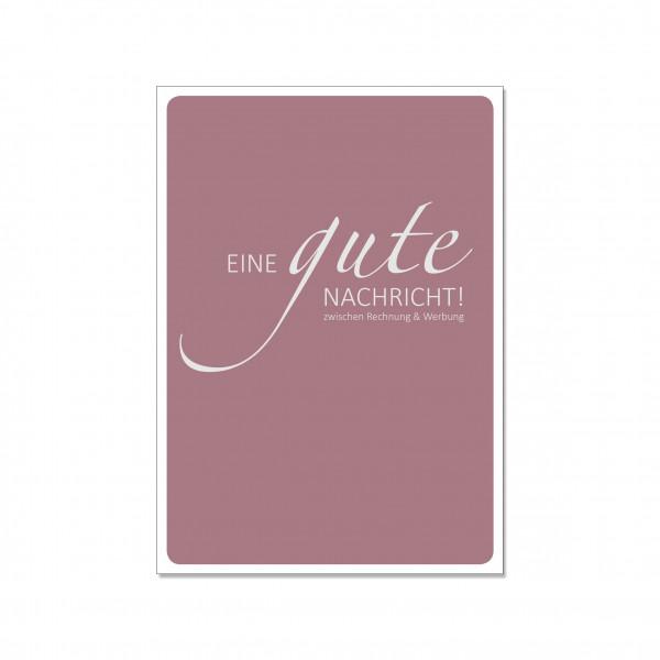 Postkarte hoch, EINE GUTE NACHRICHT - ZWISCHEN RECHNUNG & WERBUNG