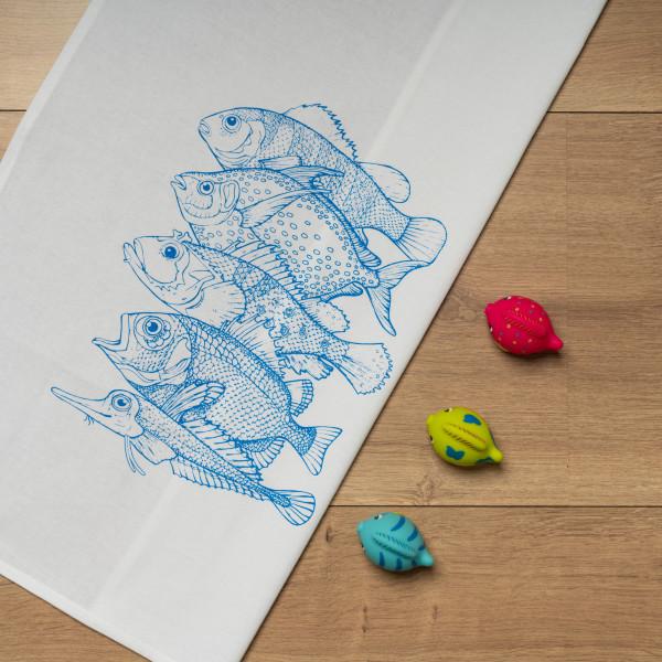 Geschirrtuch weiss, 5 FISCHE, blau