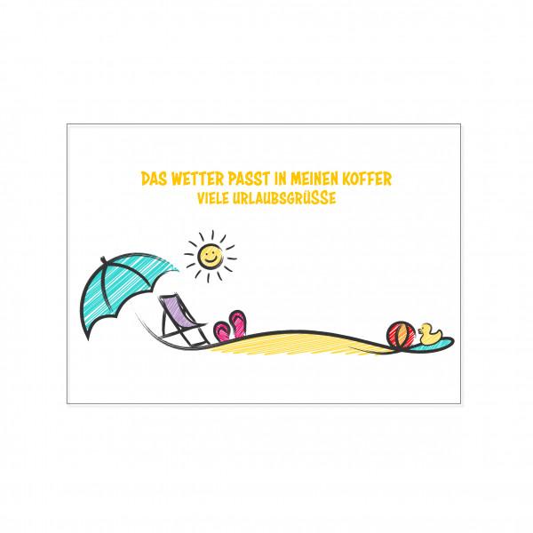 Postkarte quer, DAS WETTER PASST IN MEINEN KOFFER - VIELE URLAUBSGRÜSSE