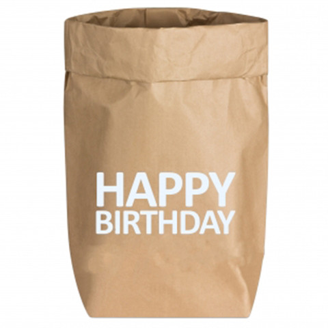 Paperbags Small natur, HAPPY BIRTHDAY, weiss