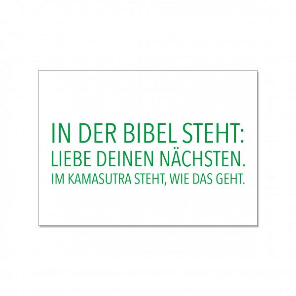Postkarte quer, IN DER BIBEL STEHT: LIEBE DEINEN NÄCHSTEN. IM KAMASUTRA STEHT, WIE DAS GEHT.