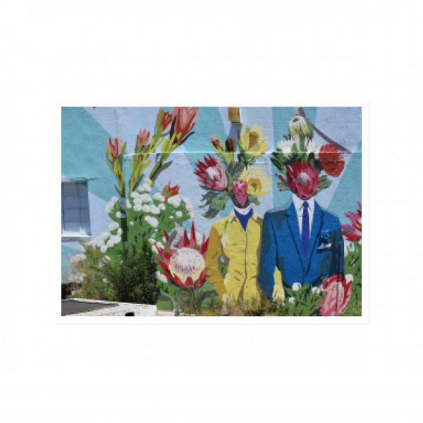 Postkarte quer, Streetart, HEAD FULL OF FLOWERS