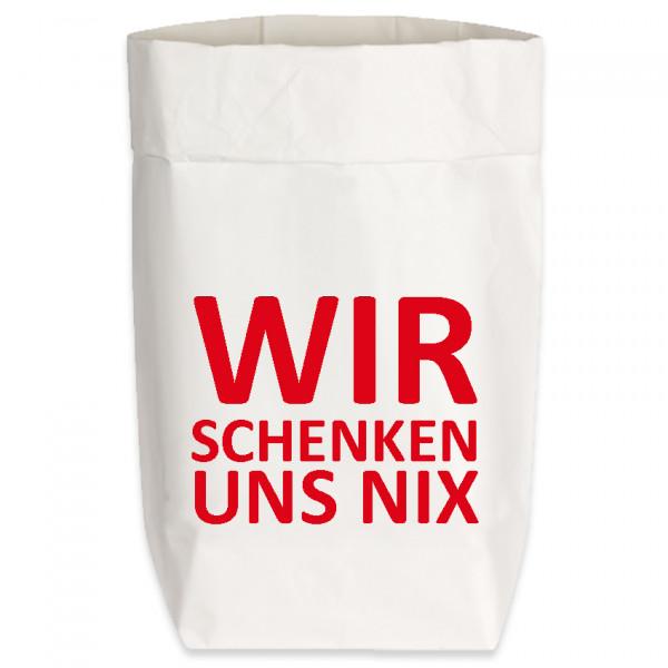 Paperbags Small weiss, WIR SCHENKEN UNS NIX, rot
