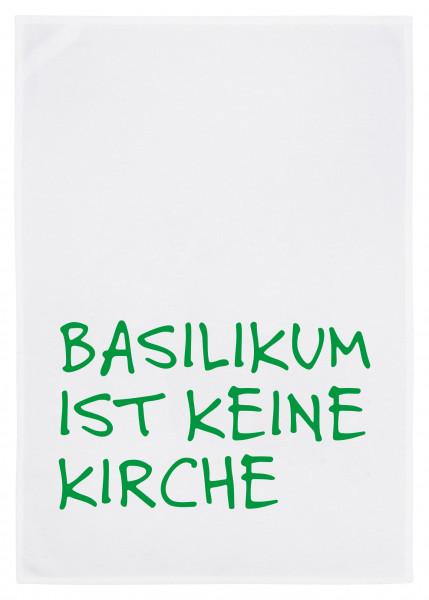 Geschirrtuch weiss, BASILIKUM IST KEINE KIRCHE, grün