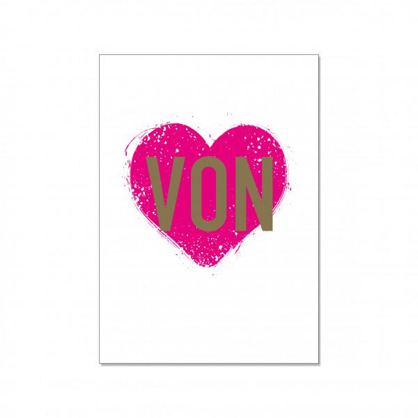 Postkarte hoch, VON HERZEN (aber sowas von neon pink)