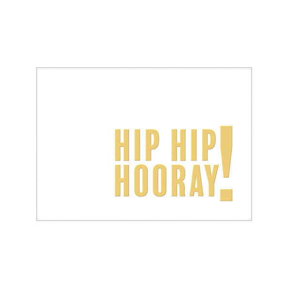 Postkarte quer, HIP HIP HOORAY! mit Heißfolienprägung in gold