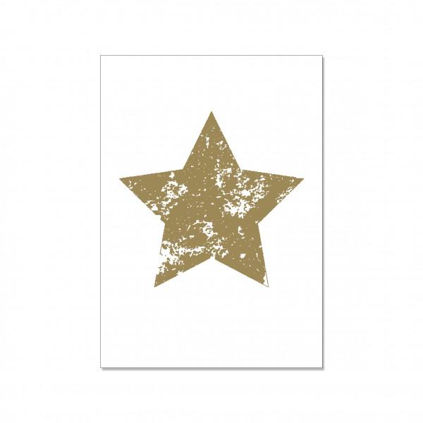 Postkarte hoch, STERN, gold