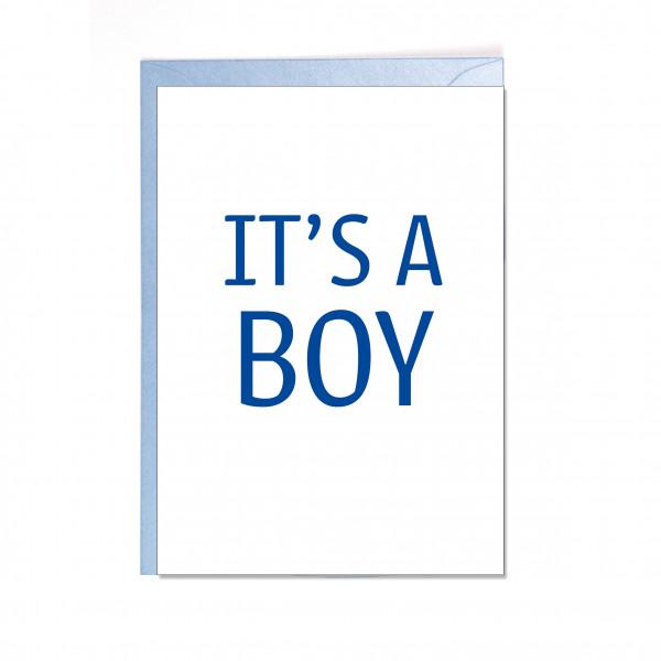 Faltkarte hoch, IT'S A BOY, blau