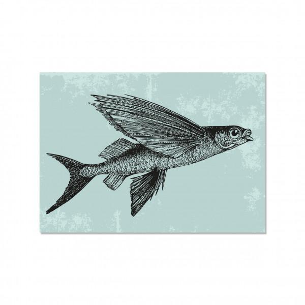Postkarte quer, FLYING VINTAGE FISH