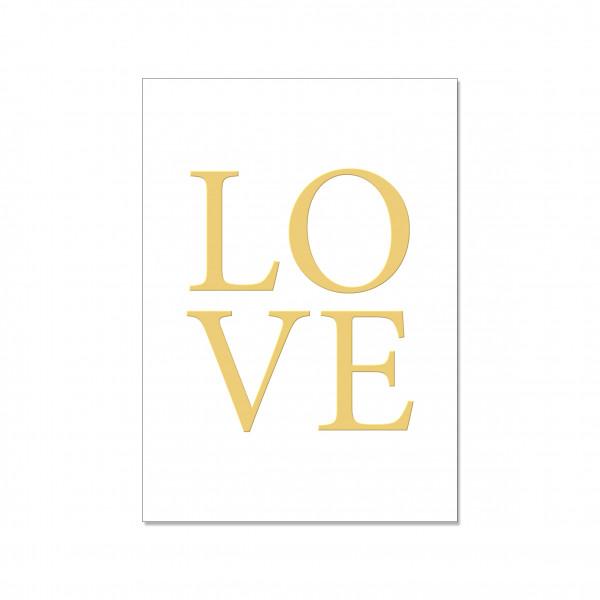 Postkarte hoch, LOVE mit Heißfolienprägung in gold
