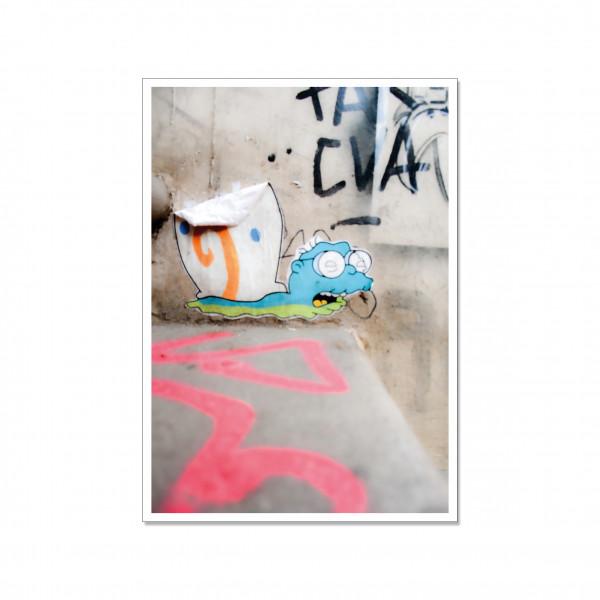 Postkarte hoch, Streetart, MOLEMAN GARY
