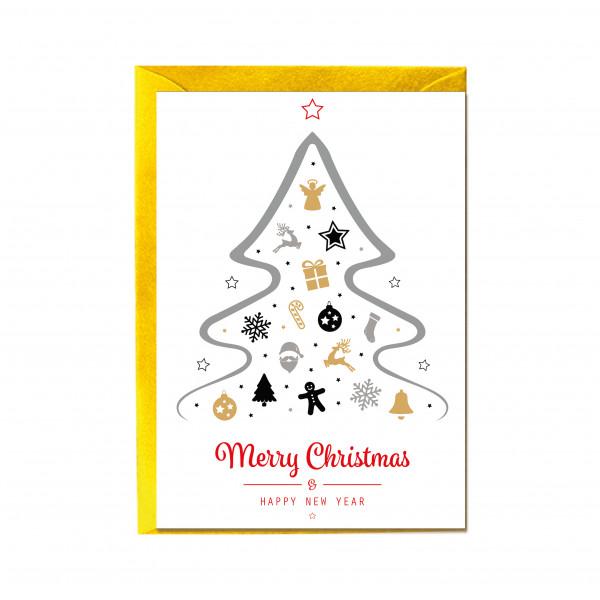 Faltkarte hoch, MERRY CHRISTMAS & A HAPPY NEW YEAR