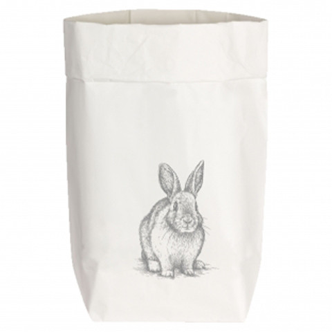 Paperbags Small weiss, HASE SITZEND, grau