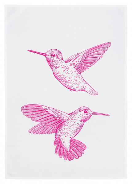 Geschirrtuch weiss, KOLIBRI, neon pink