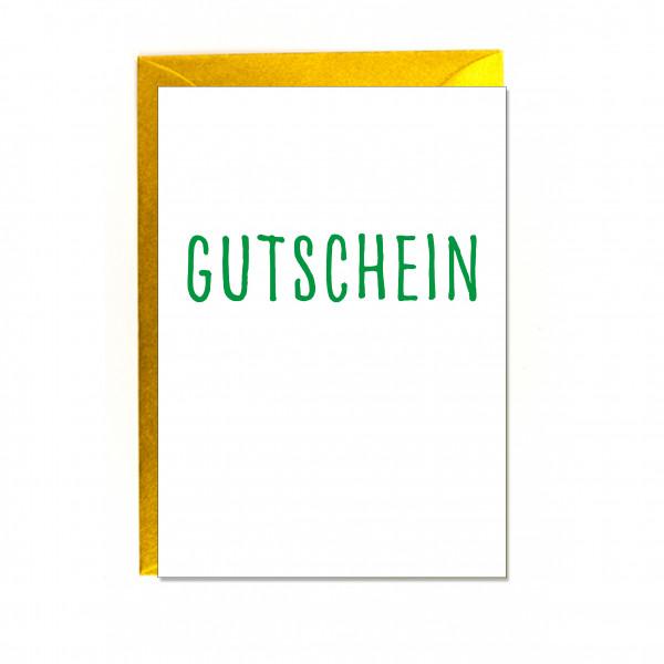Faltkarte hoch, GUTSCHEIN, grün