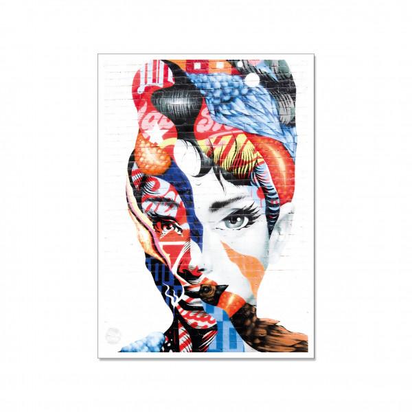 Postkarte hoch, Streetart, AUDREY HEPBURN