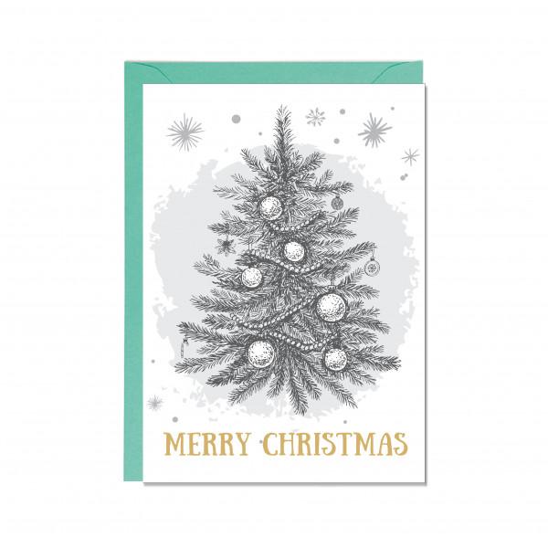 Faltkarte hoch, MERRY CHRISTMAS, WEIHNACHTSBAUM