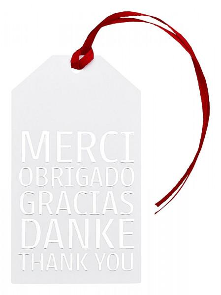 Set mit 3 Geschenkanhänger, MERCI OBRIGADO GRACIAS DANKE THANK YOU