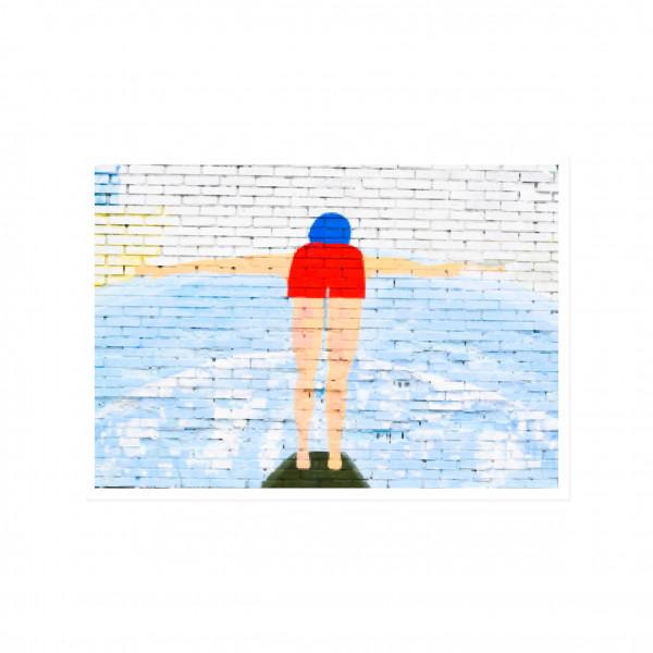 Postkarte quer, Streetart, FREISCHWIMMER