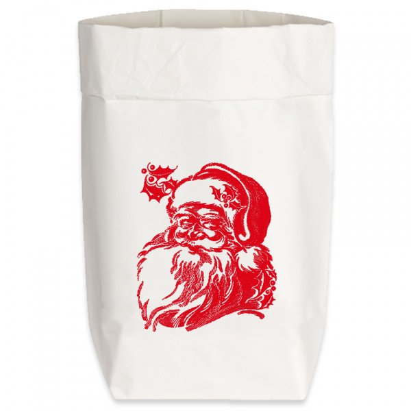 Paperbags Small weiss, WEIHNACHTSMANN, rot
