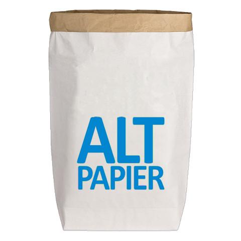Paperbags Large weiss, ALTPAPIER (Druckschrift), blau
