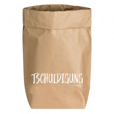 Paperbags Small natur, TSCHULDIGUNG vielmal, weiß