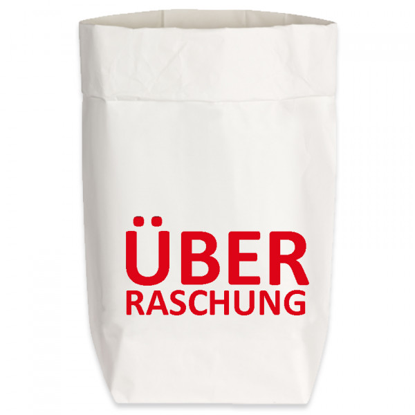 Paperbags Small weiss, ÜBERRASCHUNG, rot