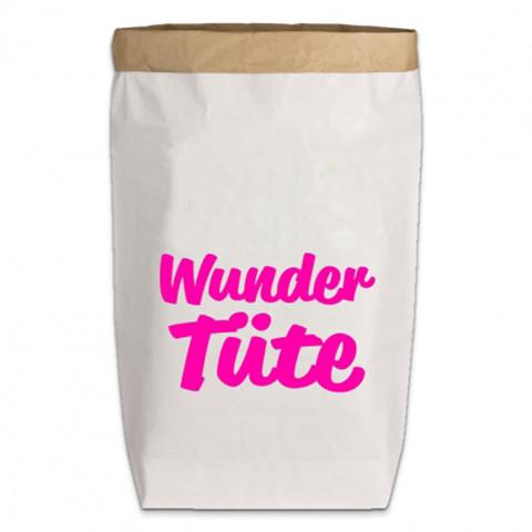 Paperbags Large weiss, WUNDER TÜTE (Schreibschrift) neon pink
