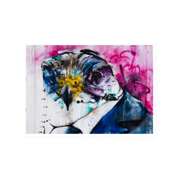 Postkarte quer, Streetart, COLORFUL EAGLE