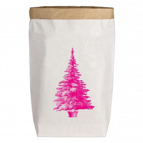 Paperbags Large weiss, WEIHNACHTSBAUM, neon pink