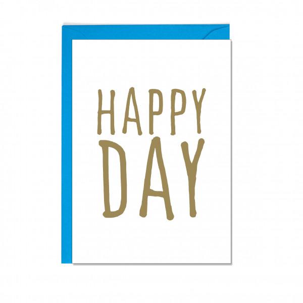 Faltkarte hoch, HAPPY DAY, gold