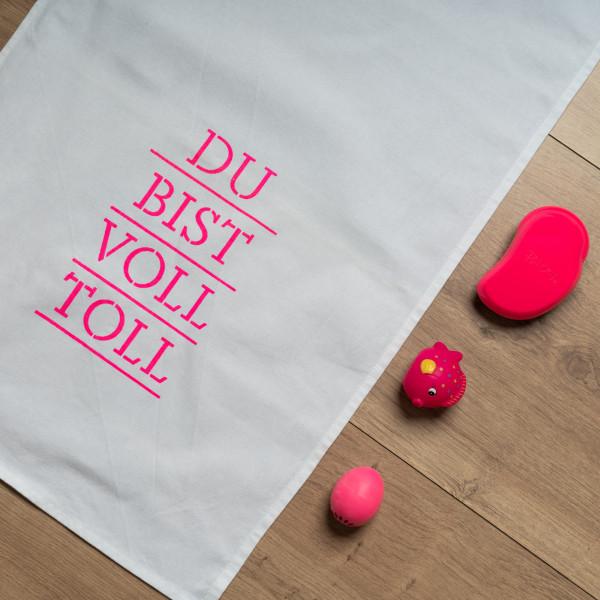 Geschirrtuch weiss, DU BIST VOLL TOLL, neon pink