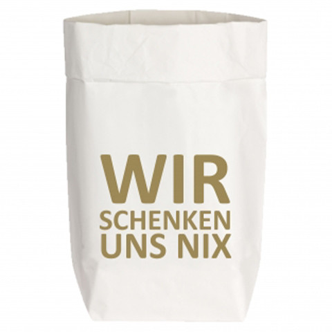 Paperbags Small weiss, WIR SCHENKEN UNS NIX, gold