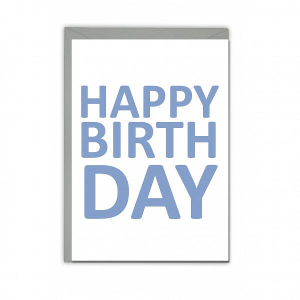 Faltkarte hoch, HAPPY BIRTHDAY, steinblau