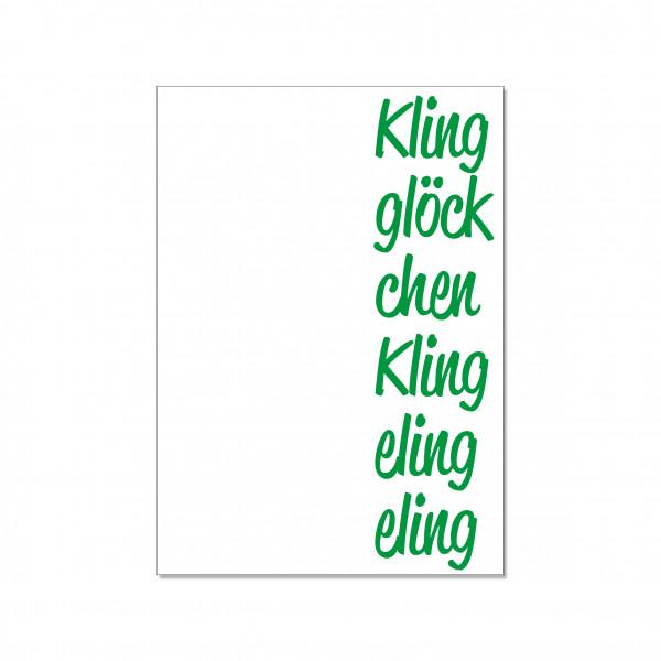 Postkarte hoch, KLING GLÖCKCH EN KLING ELING ELING, grün