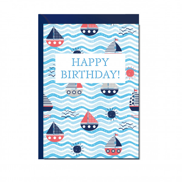 Faltkarte hoch, HAPPY BIRTHDAY (Schiffchen)