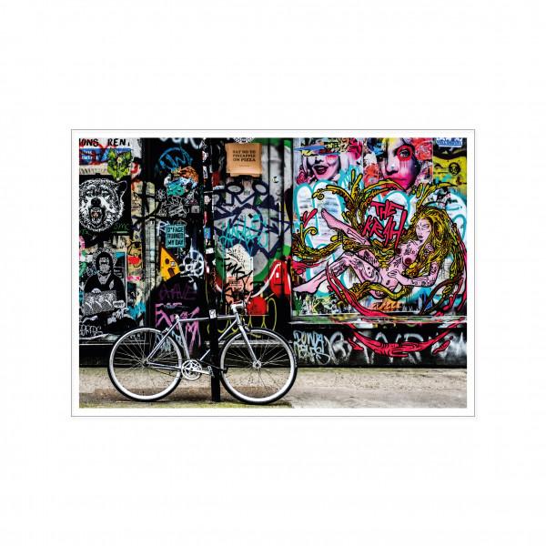 Postkarte quer, Streetart, FAHRRAD