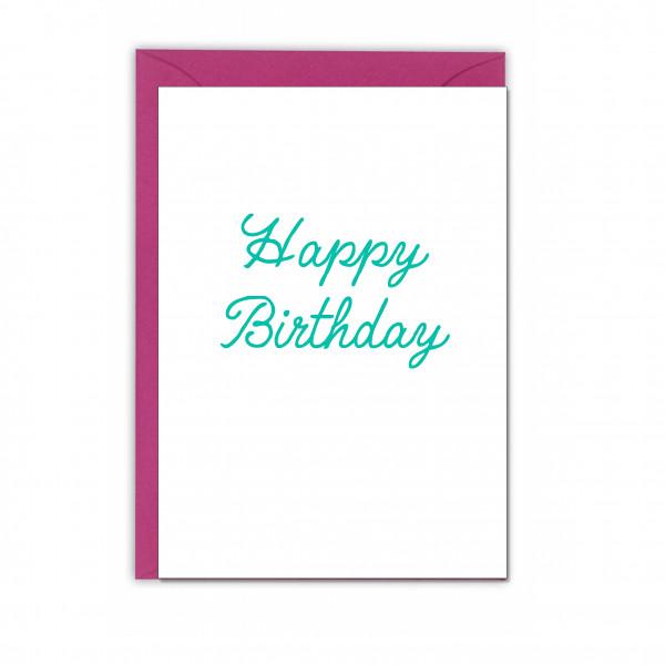 Faltkarte hoch, HAPPY BIRTHDAY, lichtgrün