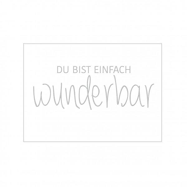 Postkarte quer, DU BIST EINFACH WUNDERBAR mit Heißfolienprägung in silber
