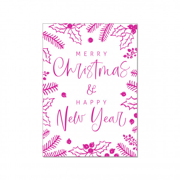 Postkarte hoch, MERRY CHRISTMAS & A HAPPY NEW YEAR (neon pink)