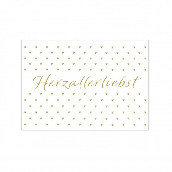 Postkarte quer, HERZALLERLIEBST, mit Heißfolie