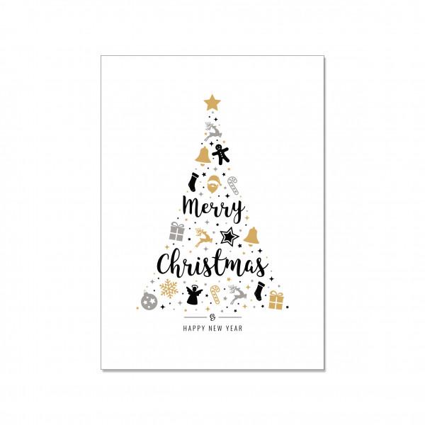 Postkarte hoch, MERRY CHRISTMAS TREE