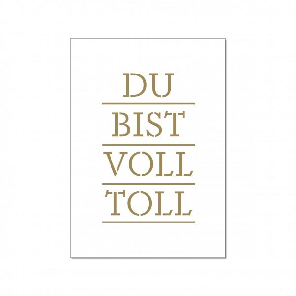 Postkarte hoch, DU BIST VOLL TOLL, gold