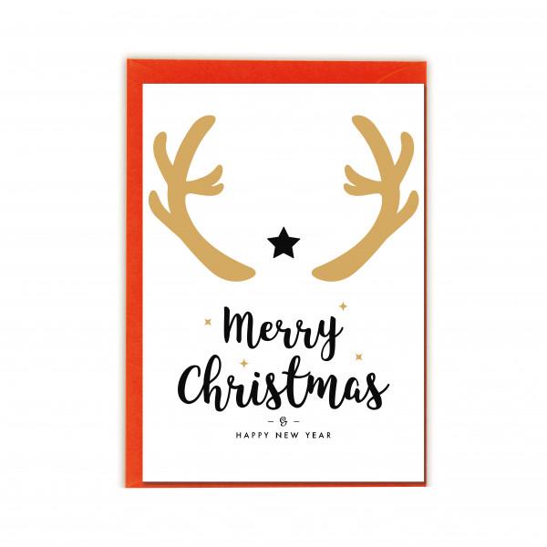 Faltkarte hoch, MERRY CHRISTMAS GEWEIH